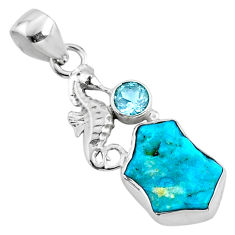 6.83cts natural sleeping beauty turquoise raw silver seahorse pendant r66928