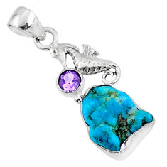 8.42cts natural sleeping beauty turquoise raw silver seahorse pendant r66937