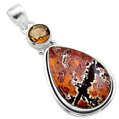 16.54cts natural sonoran dendritic rhyolite smoky topaz silver pendant t22657