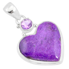 12.22cts natural stichtite amethyst 925 sterling silver heart pendant r86365