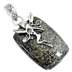 Natural stingray coral from alaska 925 silver angel wings fairy pendant r91363
