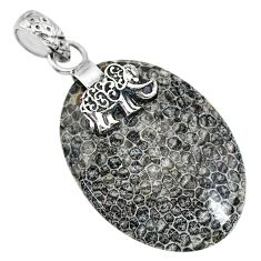 Clearance Sale- 18.21cts natural stingray coral from alaska 925 silver elephant pendant r91424