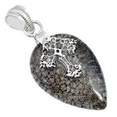19.92cts natural stingray coral from alaska 925 silver holy cross pendant r91426