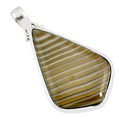 19.99cts natural striped flint ohio 925 sterling silver pendant r81062