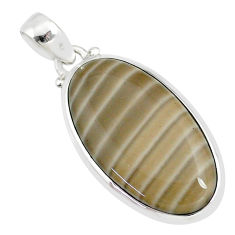 16.72cts natural striped flint ohio 925 sterling silver pendant r81066