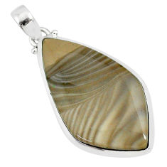 23.46cts natural striped flint ohio 925 sterling silver pendant r81072
