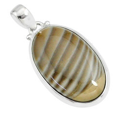 19.45cts natural striped flint ohio 925 sterling silver handmade pendant r81074