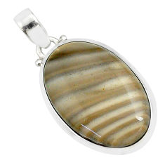 18.88cts natural striped flint ohio 925 sterling silver pendant r81076