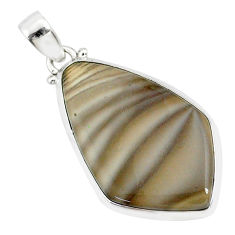 18.95cts natural striped flint ohio 925 sterling silver handmade pendant r81078
