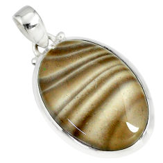 19.45cts natural striped flint ohio 925 sterling silver pendant r81081