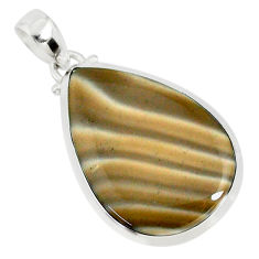 17.91cts natural striped flint ohio 925 sterling silver pendant r81082