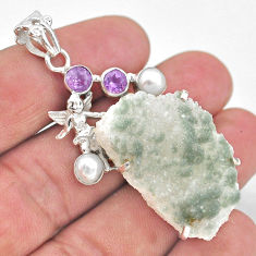 40.61cts natural sunshine druzy 925 silver angel wings fairy pendant t20823