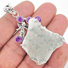 50.85cts natural sunshine druzy 925 silver angel wings fairy pendant t20825