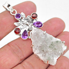 36.03cts natural sunshine druzy 925 silver angel wings fairy pendant t20826