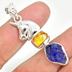 11.68cts natural tanzanite raw citrine rough 925 silver horse pendant r80772