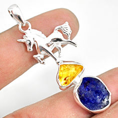 11.93cts natural tanzanite raw citrine rough 925 silver horse pendant r80823