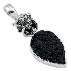 12.52cts natural tektite campo del cielo (meteorite) 925 silver pendant t15121