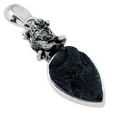 12.62cts natural tektite campo del cielo (meteorite) 925 silver pendant t15161