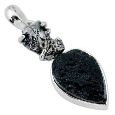 14.47cts natural tektite campo del cielo (meteorite) 925 silver pendant t15166