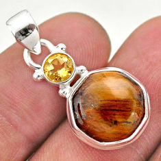 6.89cts natural tiger's eye citrine 925 sterling silver hexagon pendant t46495