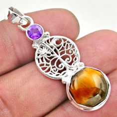 7.11cts natural tiger's eye hexagon amethyst silver tree of life pendant t46434