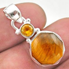 5.87cts natural tiger's eye hexagon citrine 925 sterling silver pendant t46474