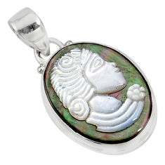 11.17cts natural titanium cameo on shell 925 silver lady face pendant r80377