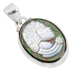7.57cts natural titanium cameo on shell 925 silver lady face pendant r80399