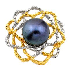 Natural titanium pearl 925 sterling silver 14k gold pendant c24182