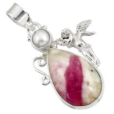 Clearance Sale- 16.03cts natural tourmaline in quartz silver angel wings fairy pendant d39340