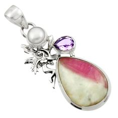 Clearance Sale- 16.03cts natural tourmaline in quartz silver angel wings fairy pendant d45081