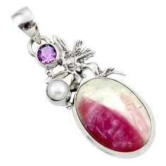 Clearance Sale- 17.57cts natural tourmaline in quartz silver angel wings fairy pendant d45302