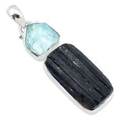 16.73cts natural tourmaline raw aquamarine rough 925 silver pendant t9805