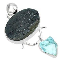 17.22cts natural tourmaline raw aquamarine rough 925 silver pendant t9949