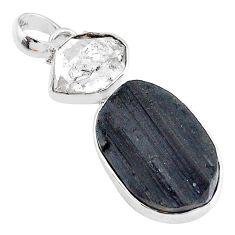 18.68cts natural tourmaline raw herkimer diamond 925 silver pendant t9803