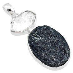 16.20cts natural tourmaline raw herkimer diamond 925 silver pendant t9811