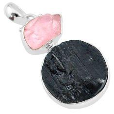 16.70cts natural tourmaline raw rose quartz rough 925 silver pendant t9812