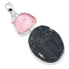 18.70cts natural tourmaline raw rose quartz rough 925 silver pendant t9832