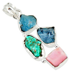 15.02cts natural turquoise aquamarine rough pink opal 925 silver pendant r26865