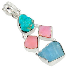 14.14cts natural turquoise aquamarine rough pink opal 925 silver pendant r26870