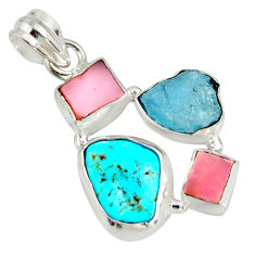 13.66cts natural turquoise aquamarine rough pink opal 925 silver pendant r26871