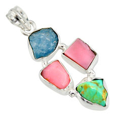 14.47cts natural turquoise aquamarine rough pink opal 925 silver pendant r26872