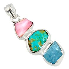 14.09cts natural turquoise aquamarine rough pink opal 925 silver pendant r26874