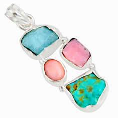 15.02cts natural turquoise aquamarine rough pink opal 925 silver pendant r26875
