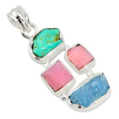 13.99cts natural turquoise aquamarine rough pink opal 925 silver pendant r26879