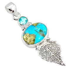 6.70cts natural turquoise pyrite 925 silver deltoid leaf pendant r78083