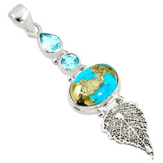 8.77cts natural turquoise pyrite 925 silver deltoid leaf pendant r78093