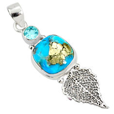 7.82cts natural turquoise pyrite 925 silver deltoid leaf pendant r78094