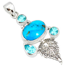 9.57cts natural turquoise pyrite 925 silver deltoid leaf pendant r78096
