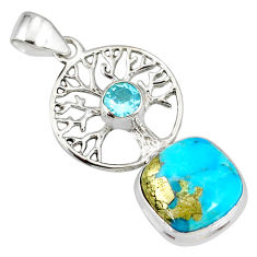 6.84cts natural turquoise pyrite 925 silver tree of life pendant r78099